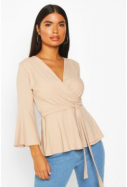 Womens Mink Petite Ribbed Peplum Wrap Top