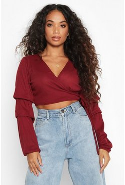 Dam Berry Petite Ribbed Wrap Ruffle Sleeve Top