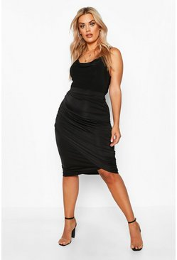 Black Plus Disco Slinky Ruched Detail Midi Skirt
