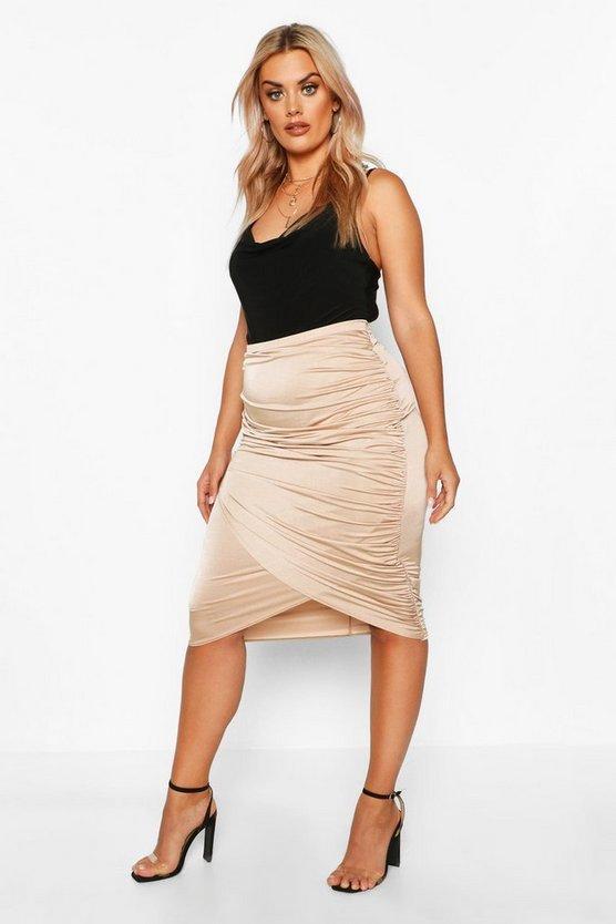 Plus Disco Slinky Ruched Detail Midi Skirt