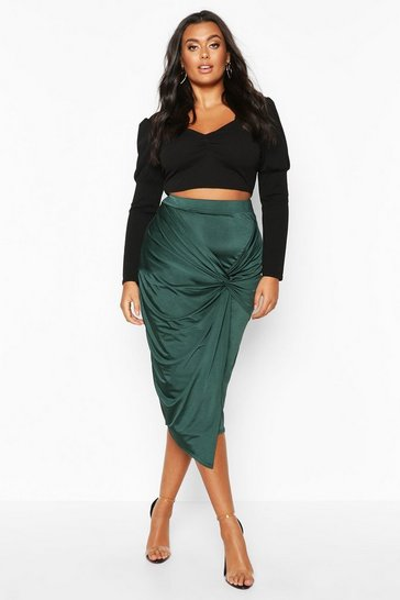 Emerald Plus Disco Slinky Knot Front Detail Midi Skirt