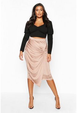 Sand Plus Disco Slinky Knot Front Detail Midi Skirt