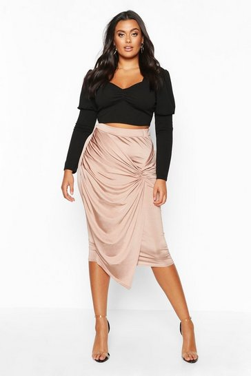 Womens Sand Plus Disco Slinky Knot Front Detail Midi Skirt