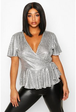 Grey Plus Metallic Rib Wrap Peplum Top