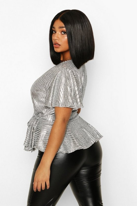 Plus Metallic Rib Wrap Peplum Top