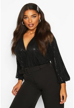 Womens Black Plus Sequin Plunge Wrap Bodysuit