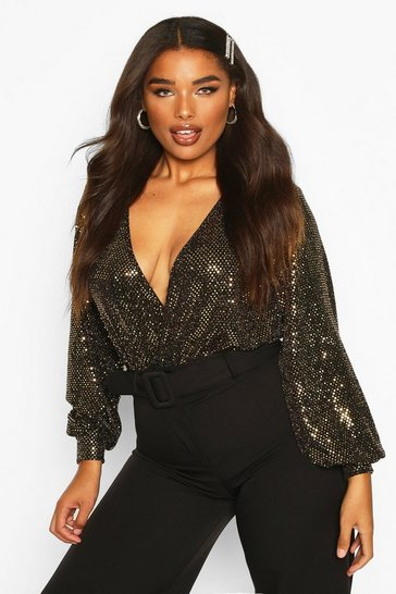 Womens Gold Plus Sequin Plunge Wrap Bodysuit