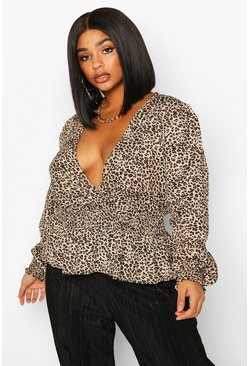 Brown Plus Shirred Waist Leopard Print Peplum Wrap Blouse