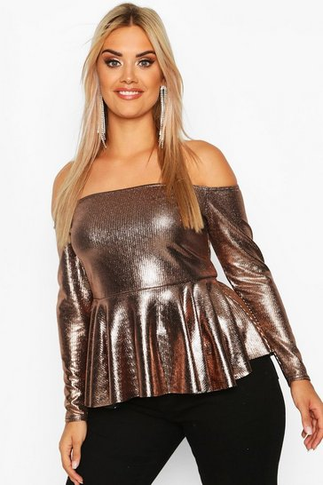 Womens Bronze Plus Metallic Off The Shoulder Peplum Top