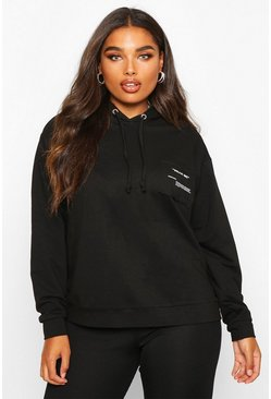 Womens Black Plus Wear Me Slogan Balloon Sleeve Hoody