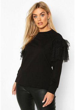 Black Plus Organza Ruffle Detail Sweat