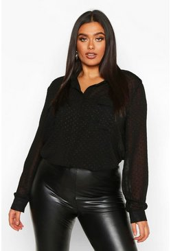 Womens Black Plus Dobby Mesh Utility Pocket Sheer Shirt
