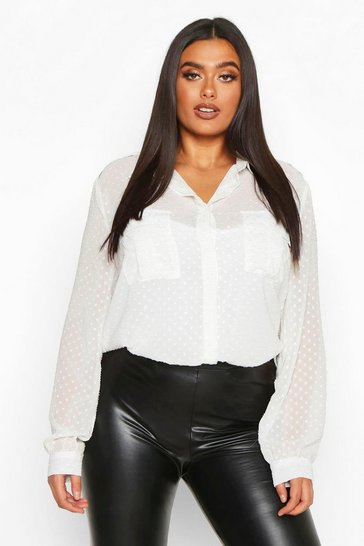 Womens Ivory Plus Dobby Mesh Utility Pocket Sheer Shirt