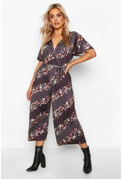 Black Plus Floral Spot Stripe Wrap Self Belt Culotte Jumpsuit