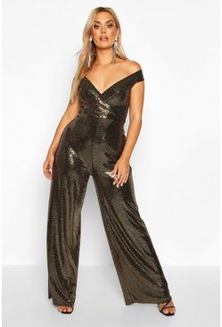 Gold Plus Sequin Off The Shoulder Wrap Wide Leg Jumpsuit