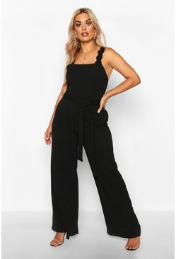 Black Plus Scallop Retail Wide Leg Self Belt Jumpsuit