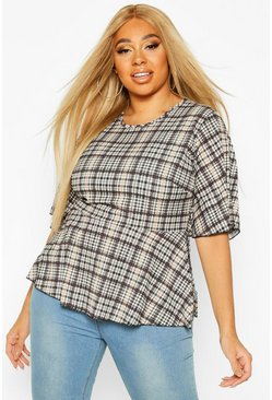 Dam Cream Plus Heritage Check Angel Sleeve Smock Top