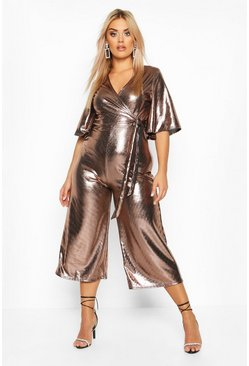 Womens Bronze Plus Metallic Wrap Angel Sleeve Belted Culotte Jumpsuit