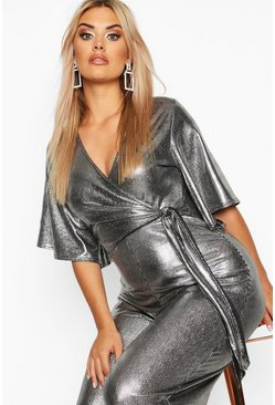 Womens Silver Plus Metallic Wrap Angel Sleeve Belted Culotte Jumpsuit
