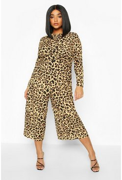 Brown Plus Leopard Print Twist Front Culotte Jumpsuit
