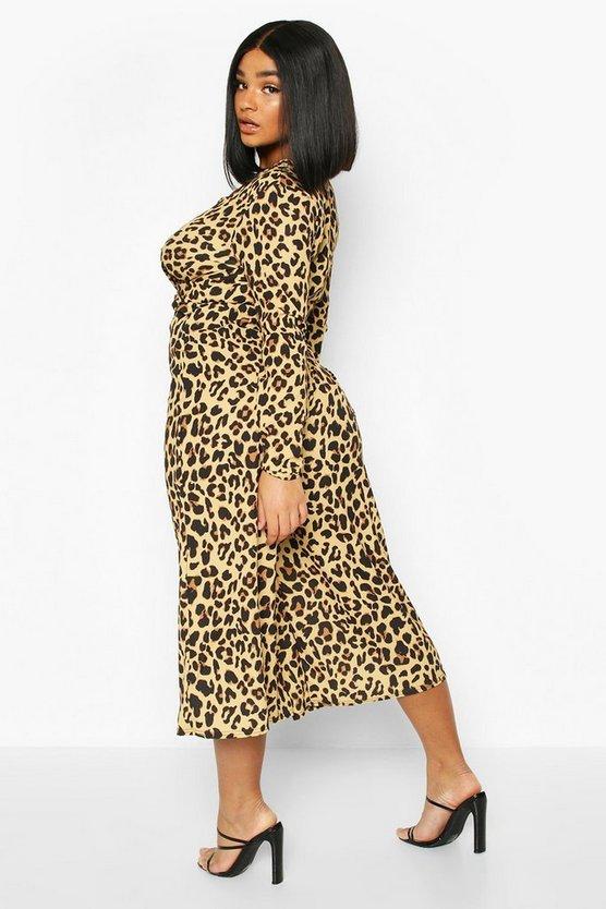 Plus Leopard Print Twist Front Culotte Jumpsuit