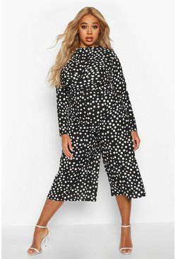 Black Plus Polka Dot Twist Front Culotte Jumpsuit