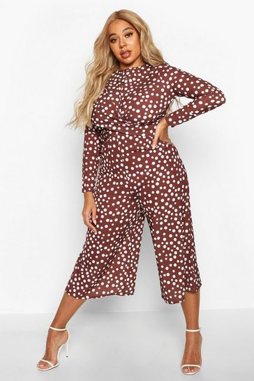 Womens Chocolate Plus Polka Dot Twist Front Culotte Jumpsuit