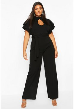 Black Plus Keyhole Angel Ruffle Sleeve Jumpsuit