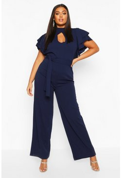 Navy Plus Keyhole Angel Ruffle Sleeve Jumpsuit