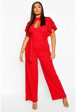 Womens Red Plus Keyhole Angel Ruffle Sleeve Jumpsuit