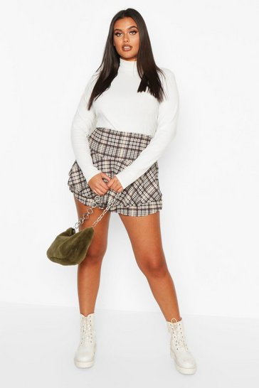 Womens Cream Plus Heritage Check Ruffle Skort