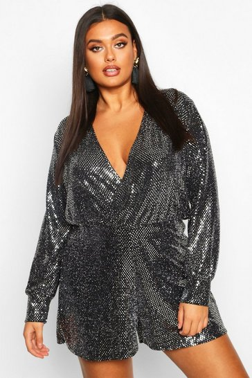 Womens Silver Plus Sequin Wrap Long Sleeve Flippy Playsuit