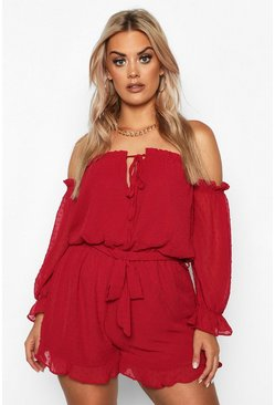 Dam Berry Plus Dobby Mesh Bardot Ruffle Playsuit