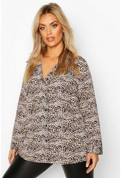 Womens Brown Plus Leopard Oversized Shirt