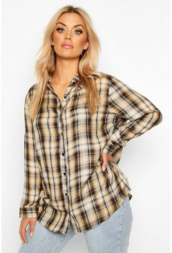 Camel Plus Check Oversized Shirt