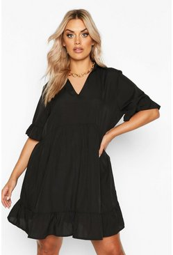 Womens Black Plus Shirt Ruffle Smock Dress