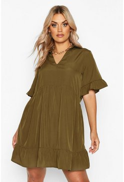 Khaki Plus Shirt Ruffle Smock Dress