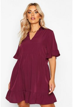Wine Plus Shirt Ruffle Smock Dress