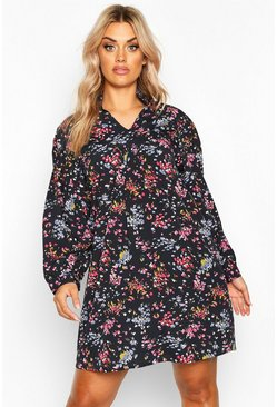 Womens Black Plus Floral Woven Shirt Dress