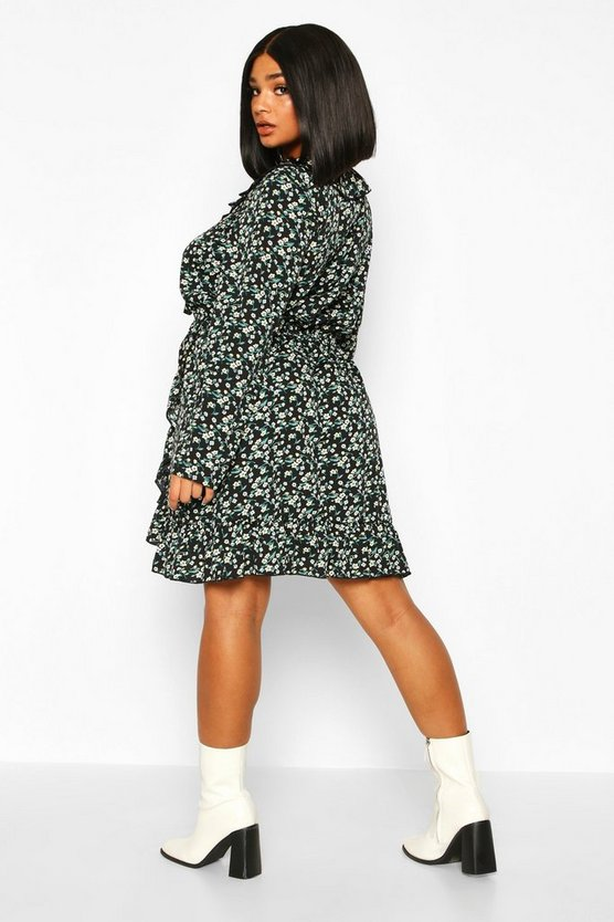 Plus Ditsy Floral Ruffle Wrap Tea Dress