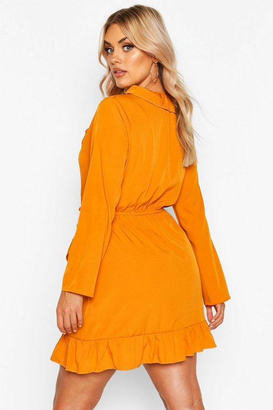 Plus Ruffle Wrap Tea Dress