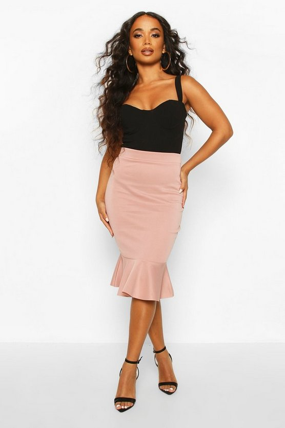 Petite Peplum Hem Midi Skirt