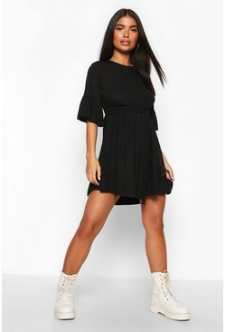 Womens Black Petite Ribbed Tie Detail Smock Dress