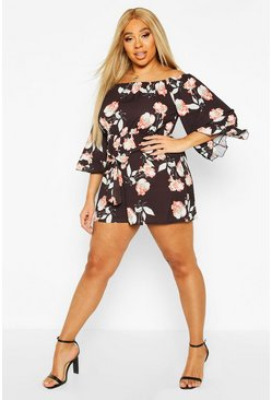 Black Plus Dark Floral Off Shoulder Self Belt Playsuit
