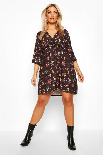 Womens Berry Plus Floral Ditsy Ruffle Shift Dress