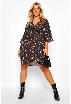 Black Plus Floral Ditsy Ruffle Shift Dress