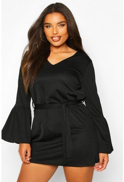 Black Plus Ruffle Sleeve Tie Waist Shift Dress