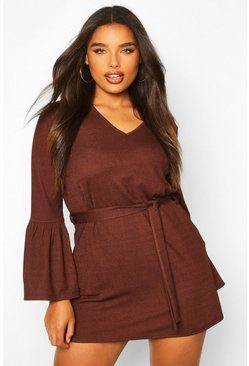 Womens Chocolate Plus Ruffle Sleeve Tie Waist Shift Dress
