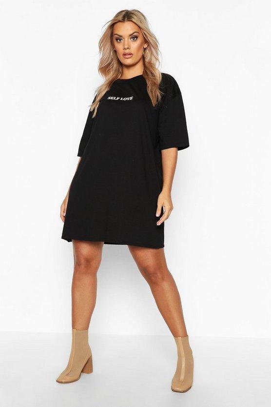 Plus Self Love Oversized T-Shirt Dress