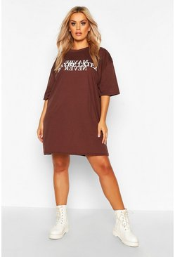 Chocolate Plus Maybe Later Oversized T-Shirt Dress